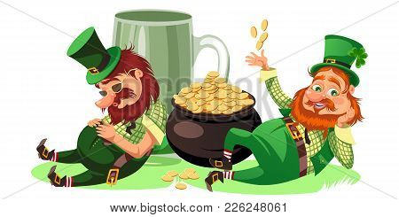 Saint Patrick Day Characters, Leprechaun With Mug Of Green Beer, Glass Full Alcohol Ale, Drunk Man I