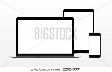 Set Of Modern Electronic Devices - Laptop Computer, Tablet, Phone. Mockup To Showcase Web-site Desig