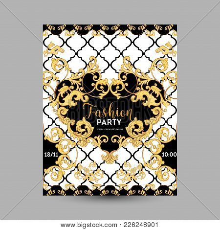 Baroque Fashion Decorative Design Posters, Luxury Brochures, Club Party Flyer, Abstract Renaissance