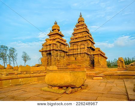 Beautiful Ancient Monolithic Famous Shore Temple Near Mahabalipuram, World Heritage Site In Tamil Na