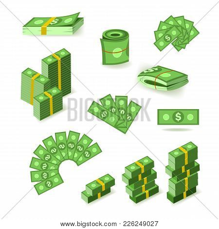 Wads, Stacks, Rolls And Piles Of Dollar Banknotes, Bills, Money, Flat Style Vector Illustration Isol
