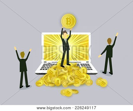 Bitcoin Concept Businessmen, Open Laptop And Stacks Of Coins, Vector Illustration Isolated On White
