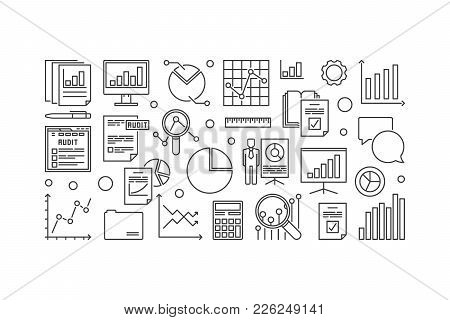 Financial Audit Vector Minimal Outline Illustration On White Background