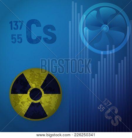 Symbol Of Radioactive Hazard Vector Illustration. A Cesium Atom 147 On A Blue Background. The Striki