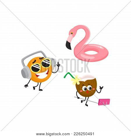 Vector Cartoon Summer Symbols, Fruit Characters In Sunglasses Icon Set. Orange In Headphones Smiling