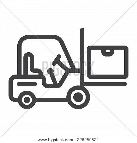 Forklift Delivery Truck Line Icon, Logistic And Delivery, Cargo Vehicle Sign Vector Graphics, A Line