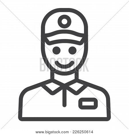 Delivery Man Line Icon, Logistic And Delivery, Courier Sign Vector Graphics, A Linear Pattern On A W