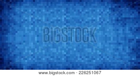 Blue Abstract Grunge Background - Illustration,  Azure Mosaic Grunge Vector,  Squares Of Light And D