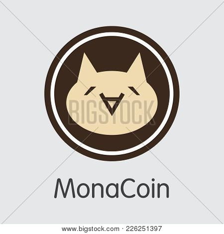 Monacoin - Digital Currency Simbol. Vector Illustration Of Cryptocurrency Icon On Grey Background. V