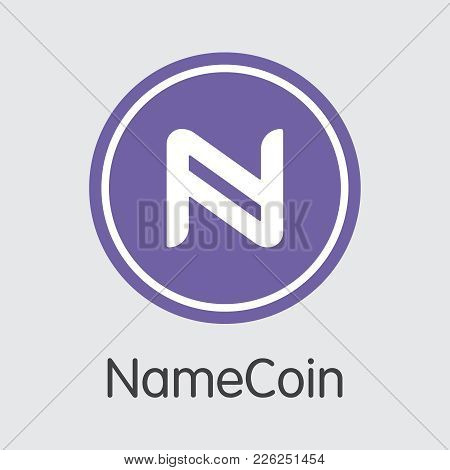 Namecoin - Cryptocurrency Concept. Colored Vector Icon Logo And Name Of Virtual Currency On Grey Bac
