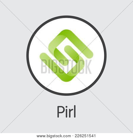 Pirl - Digital Currency Simbol. Vector Illustration Of Cryptocurrency Icon On Grey Background. Vecto