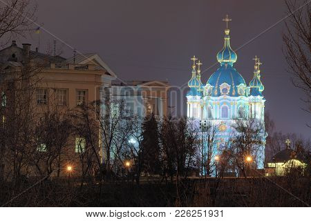 Evening Illumination Of St. Andrew's Church And Museum Of The History Of Ukraine. Evening City Panor