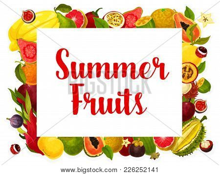 Exotic Summer Fruits Of Tropical Grapefruit, Papaya Or Avocado And Mango, Passion Fruit Maracuya Or