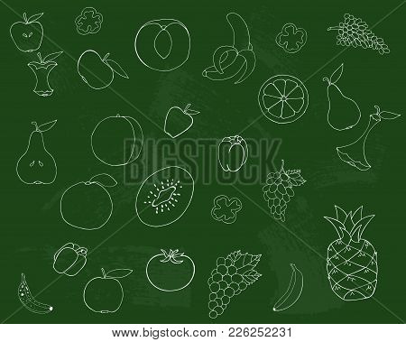 Drawing On A Green Blackboard. Fruits And Vegetables Are Drawn In Chalk On A Blackboard. Vector Illu