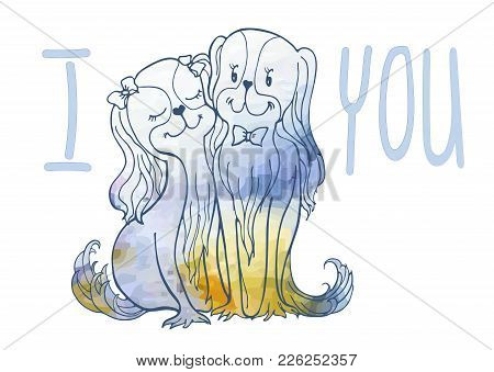 Vector Image Sketch Of Loving Dogs From Lines And Watercolor Spots Of Delicate Flowers, Bride With H