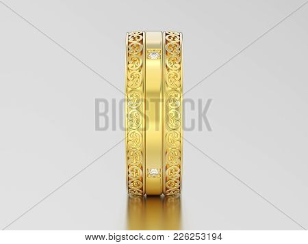 3d Illustration Yellow Gold Decorative Wedding Bands Carved Out Ring With Ornament And Diamonds On A