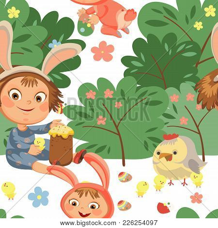 Seamless Pattern Girl Smile Playing With Chickens Under Flowers Bush, Baby In Apron With Rabbit Ears