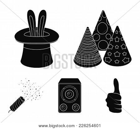 Tricks, Music And Other Accessories At The Party.party And Partits Set Collection Icons In Black Sty