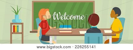 Welcome School Banner. Flat Illustration Of Welcome School Vector Banner For Web