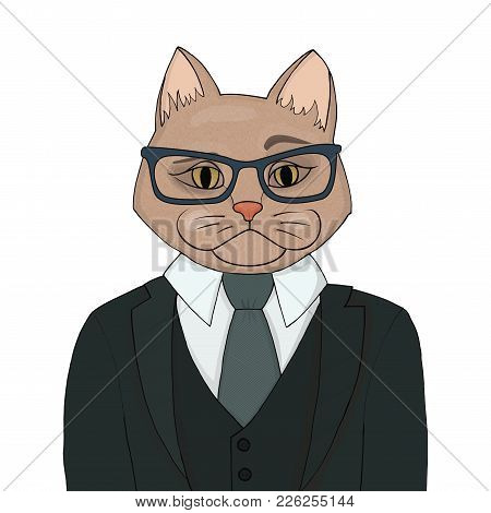Stylish Catman In A Suit With A Tie. The Human Body Is The Head Of A Cat Vector Illustration. Portra