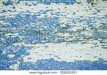 Texture Background Of Peeling Paint - Blue Peeling Paint On The Wooden Texture Surface, Close Up Of