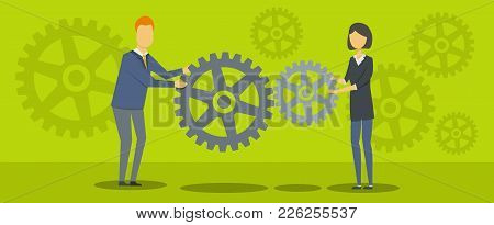Teacher With Gear Banner. Flat Illustration Of Teacher With Gear Vector Banner For Web