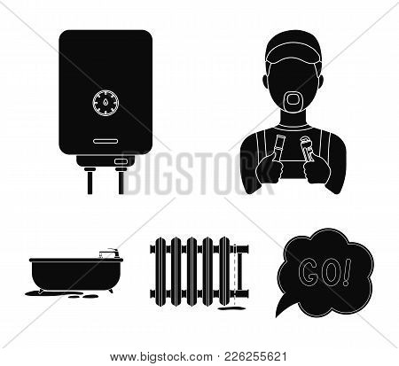 Plumber, Boiler And Other Equipment.plumbing Set Collection Icons In Black Style Vector Symbol Stock