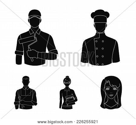 Cook, Painter, Teacher, Locksmith Mechanic.profession Set Collection Icons In Black Style Vector Sym