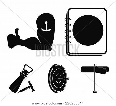 Menu, Armor With Tattoo, Darts, Corkscrew And Opener.pub Set Collection Icons In Black Style Vector