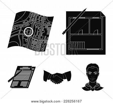 House Plan, Documents For Signing, Handshake, Terrain Plan. Realtor Set Collection Icons In Black St