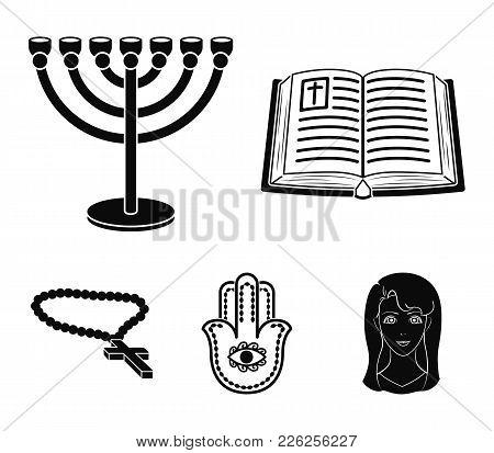 Bible, Menorah, Hamsa, Orthodox Cross.religion Set Collection Icons In Black Style Vector Symbol Sto