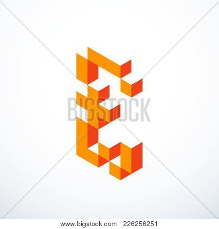Pound Sterling Isometric Pixel Icon. Vector Illustration Eps 10