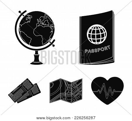 Vacation, Travel, Passport, Globe .rest And Travel Set Collection Icons In Black Style Vector Symbol