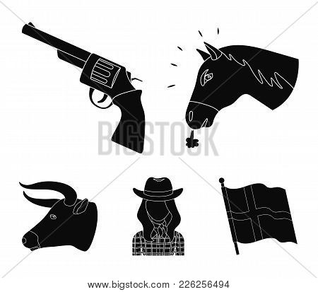 Head Of A Horse, A Bull's Head, A Revolver, A Cowboy Girl. Rodeo Set Collection Icons In Black Style