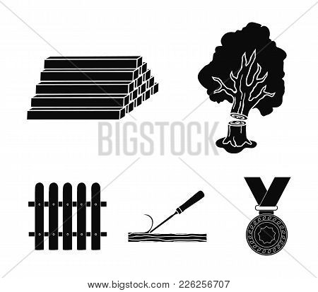 Wood, Logs In A Stack, Chisel, Fence. Lumber And Timber Set Collection Icons In Black Style Vector S