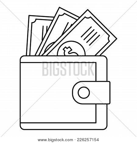 Wallet Icon. Outline Illustration Of Wallet Vector Icon For Web