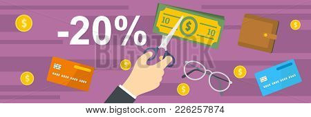 Money For Tax Banner. Flat Illustration Of Money For Tax Vector Banner For Web