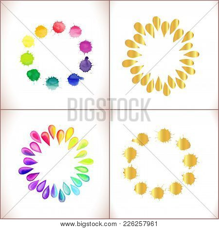 Colorful Watercolor And Gold Splashes Isolated On White Background