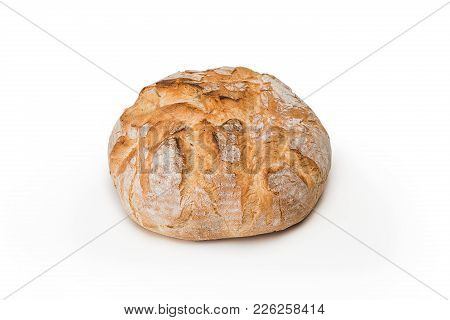 The Fresh Bread On A White Background. Front View. The Healthy Eating And Traditional Bakery Concept