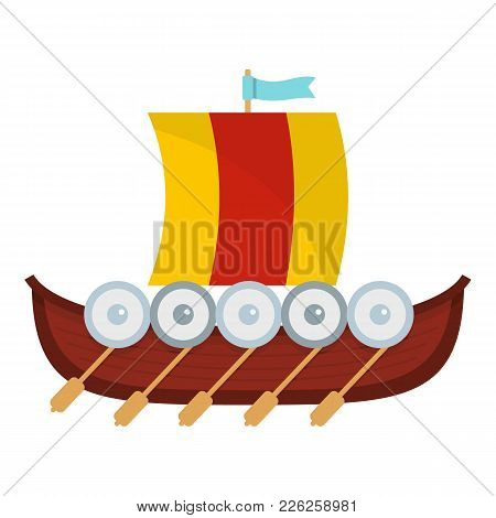 Viking Boat Icon. Flat Illustration Of Viking Boat Vector Icon For Web