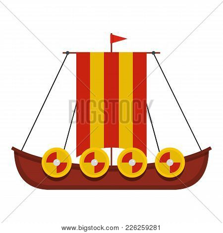 Military Ship Icon. Flat Illustration Of Military Ship Vector Icon For Web