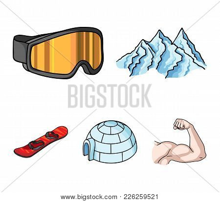 Mountains, Goggles, An Igloo, A Snowboard. Ski Resort Set Collection Icons In Cartoon Style Vector S
