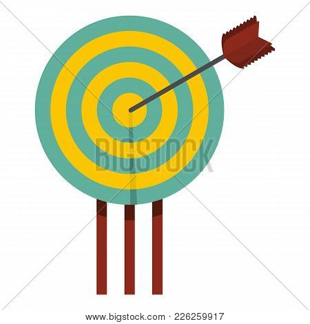 Arrow In Target Icon. Flat Illustration Of Arrow In Target Vector Icon For Web