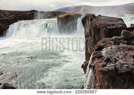 Amazing View Of Godafoss Waterfall Near Akureyri, Iceland