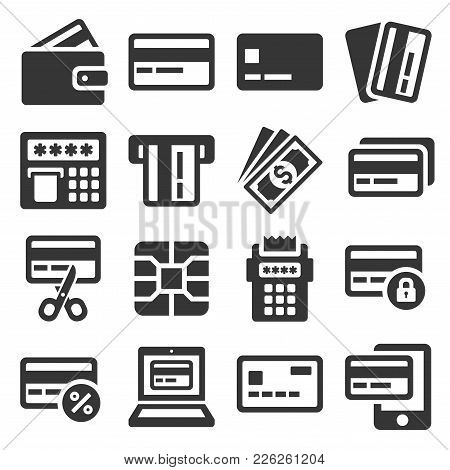 Credit Card Icons Set On White Background. Vector Illustration