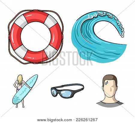 Oncoming Wave, Life Ring, Goggles, Girl Surfing. Surfing Set Collection Icons In Cartoon Style Vecto