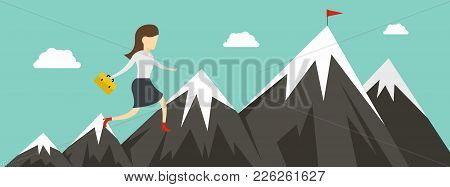 Woman Career Banner. Flat Illustration Of Woman Career Vector Banner For Web