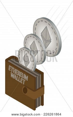 Transfer Of Coins Of Etherum And Their Transfer To The Wallet  On A White Background