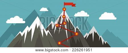 Mountain Route Banner. Flat Illustration Of Mountain Route Vector Banner For Web