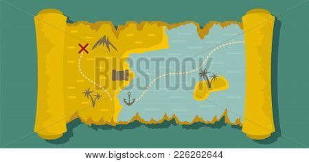 Island Map Banner. Flat Illustration Of Island Map Vector Banner For Web